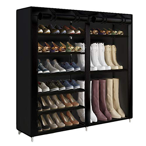 UDEAR Shoe Rack Portable 7 Tier Free Standing Shoe Organizer with Dustproof Cover Black