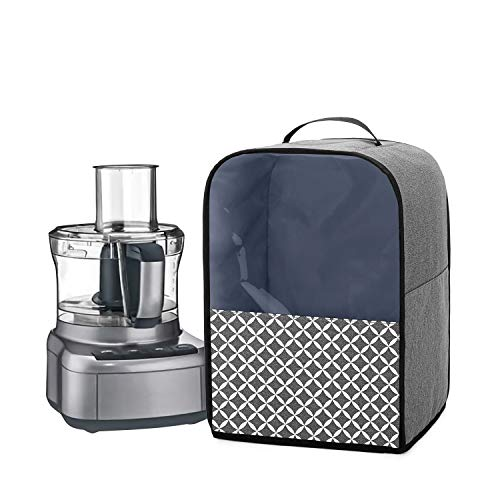 YarwoCover for Food Processor with Accessory Pockets and Top Handle Compatible with Kenwood, Ninja, Cuisinart, Magimix 1.7L - 2.5L Food Processor, Grey with Oval Pattern(Cover Only)