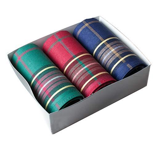 Merrysquare - Mouchoirs Homme Assortis - Modèle Sussex - Grande Taille 42cm x 42cm - Coffret de 3 pièces - 100% Coton