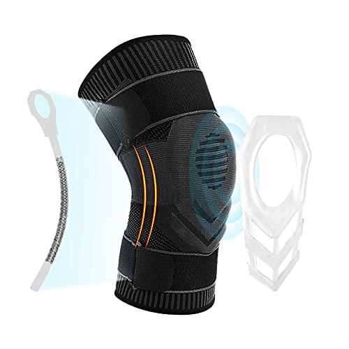 GIRYES Kniebandage männer und damen,Komprimierte Kniestütze mit Patella-Gelpolstern und seitlichem Stabilisator, Riemen knee support für Laufen Arthritis ACL Gelenkschmerzlinderung(Grau-XL)