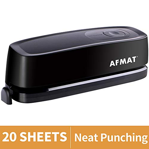 Electric Hole Punch AFMAT 3 Hole Punch Heavy Duty 20Sheet Punch Capacity AC or Battery Operated Paper Puncher Effortless Punching Long Lasting Paper Punch for Office School Studio Black