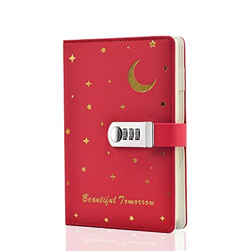 Lirener Kreativ PU läder anteckningsbok dagbok med lås (måne och stjärna mönster), A5 hemligt lösenord anteckningsblock dagbokjournal resedagbok organisatör med kombinationslås pennhållare, 150 x 220 mm