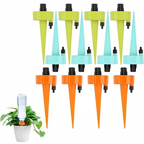 Regar Plantas Vacaciones de 12 Piezas, Rociador Actualizado, Kit Riego Automatico, Presión de Agua Estable con Interruptor de Válvula de Control para Plantas de Interior al Aire Libre (Multicolor)