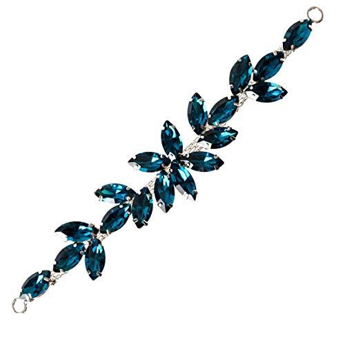 Trimming Shop Hermoso Negro Cristales Pedrería Motivo Costura Parche Aplique para Boda Vestido de Novia, Informal o Formal Ropa Accesorios de Moda - 16 x 2.5cm - Azul Turquesa