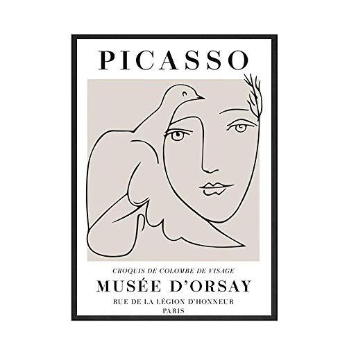Carteles e impresiones nrdicos de Picasso Matisse lneas abstractas cuadro de arte de pared de planta pintura de lienzo sin marco familiar F 70x100cm