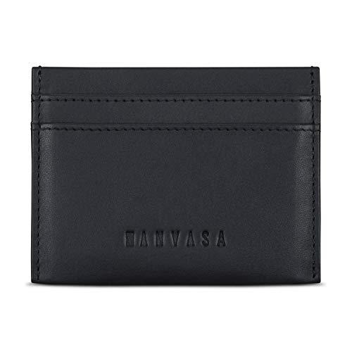 KANVASA Korthållare herr läder svart Go – kortfodral tillverkat av kohud – plånbok dam litet äkta läder – RFID-blockering, Svart (Svart) - KNV00116