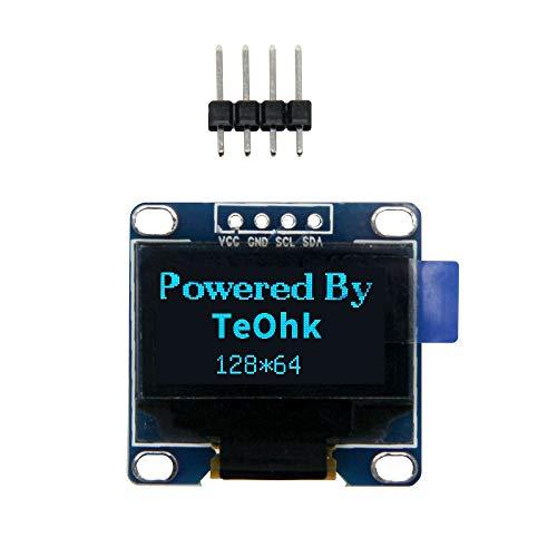 """Jolicobo 0.96 """"Módulo de pantalla OLED I2C 128x64 píxeles, ángulo de visión de 160 grados LCD 4 PIN para Arduino, RASP PI, pantalla de proyecto DIY, azul"""
