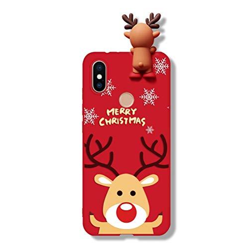 Pnakqil Funda para Xiaomi Redmi Note 9s / Redmi Note 9 Pro Silicona Carcasa con Dibujos Navidad 3D Diseño Ultrafina Suave Piel Antigolpes Gel TPU Protectora Case Cover, Elk 03