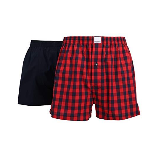 Ceceba Herren Boxershort, Unterhose, Shorts - Baumwolle, Popeline, rot, kariert, mit Eingriff, 2er Pack 5XL