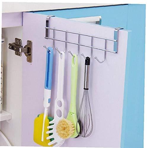 Angoter 5 Hooks Kitchen Racks Kitchenware Cups Hanging Rack Organizer Door Clothes Hanger Hooks 10kg Bearing Over Door Rack Towel Holder