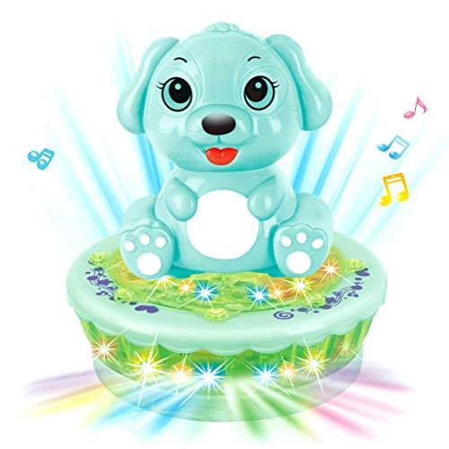AimdonR Baby Cartoon dier hond projectie speelgoed, baby cartoon dier hond projectie speelgoed elektrisch geluid en licht muziek projectie roterende speelgoed auto speelgoed