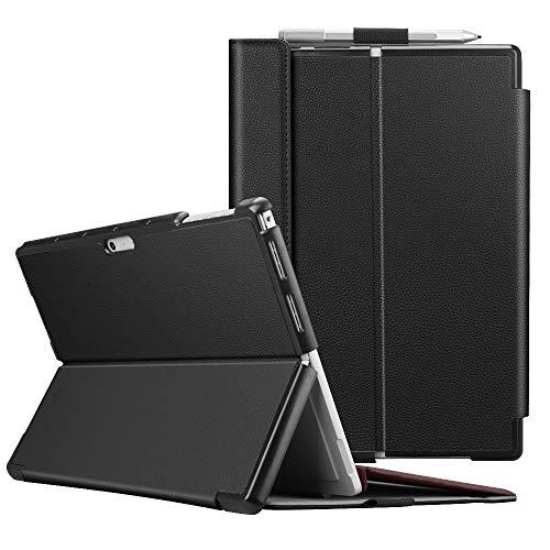 Fintie Schutzhülle für Surface Pro 7 Plus/Pro 7 / Pro 6 / Pro 5 - Business Hülle mit Harter Schale, anpassbarer Betrachtungswinkel, kompatibel mit der Type Cover Tastatur, Schwarz