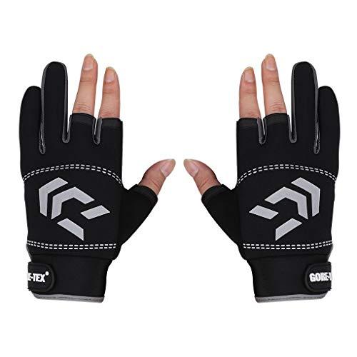 CSKJ Neoprene Gloves,Fishing Gloves,Ice Fishing Gloves,Shooting Gloves,3 Cut Fingers Fishing Gloves,Anti-Slip Windproof,for Fly Fishing Ski Motorcycling Hiking Hunting Cycling (Black Gray, S)