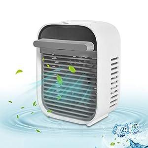 Kriogor Mini Enfriador de Aire, Mini Aire Acondicionado Ventilador,USB Aire Acondicionado Portátil,Humidificador con 3 velocidades Trabajo y Hogar