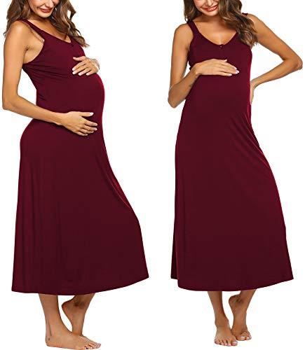 Ekouaer Still-Nachthemd für Damen, ärmellos, V-Ausschnitt, Stillen, langes Kleid für Schwangere -  Rot -  XX-Large