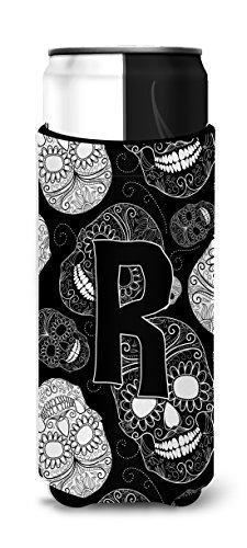Lettre R Jour des morts Têtes de mort Noir Ultra isolateurs de boisson pour fin canettes Cj2008-rmuk