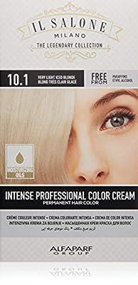 Il Salone Milano Permanent Hair Color Cream - 10.1 Very Light Iced Blonde Hair Dye - Professional Salon - Premium Quality - 100% Gray Coverage - Paraben Free - Ethyl Alcohol Free - Moisturizing Oils
