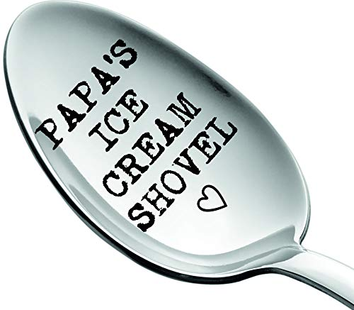 Weenca Engraved Spoon Papa's Ice Cream Shovel Gift for Dad Sturdy Stainless Steel Ice Cream Spoon...