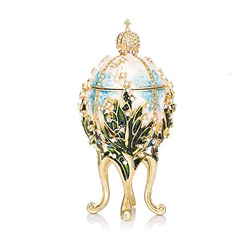 QIFU Hand Painted Enameled Faberge Egg Style Decorative Hinged Jewelry Trinket Box Unique Gift Home Decor