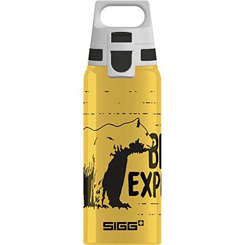 SIGG WMB One Brave Bear Kinder Trinkflasche (0.6 L), schadstofffreie und auslaufsichere Kinderflasche, federleichte Wasserflasche aus Aluminium