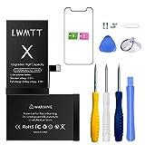 LWMTT Batterie Haut Capacité Interne Compatible pour iPhone X 3300mAh Batterie Lithium-ION...