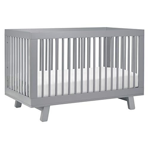 Babyletto Hudson 3-in-1 Convertible Crib with Toddler Bed Conversion Kit in Grey, Greenguard Gold Certified
