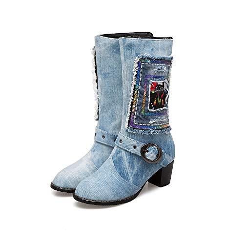 LXYYBFBD Women'S Boots, Mode Retro Persoonlijkheid Mode Dik Met Ronde Hoofd Hoge hak Grote Size Tube Cowboy Boots Wild Single Boots Lente En Herfst Tube Dames Korte laarzen Draag Anti-lip Beige