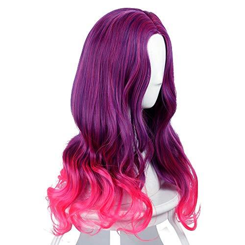 Manfis Perücke weibliche Mode Gamora Lange lockige Haare Damen hochwertige Perücke- lang, gewellt, dunkle Wurzeln, Ombre, Weinrot, Perücke, Kostüm, Halloween, Anime, Cosplay, Haar