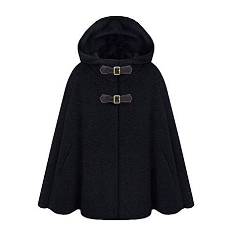 LaoZan Damen Faux Wollmantel Poncho Winter Cape Peacoat mit Kapuze Mäntel Jacke XL Schwarz