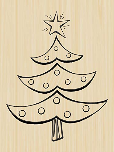 Funky Christmas Tree Rubber Stamp by DRS Designs - Made in USA