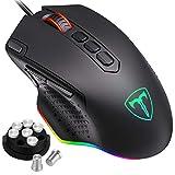 Pictek - Ratón Gamer con Cable RGB, ratón Gaming, botón Sniper & de Tirar, Peso Ajustable, 10 Botones programables, iluminación Personalizable, ratón RGB FPS/MOBA/MMO/RPG【Nueva versión 202020】