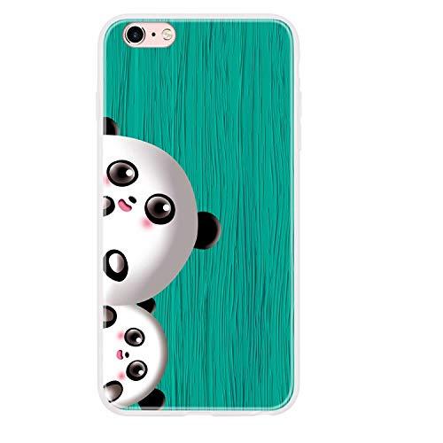Miagon Holz Korn Hülle für iPhone 6/6S,Ultra Dünn Weiche Silikon Handyhülle Cover Stoßfest Schutzhülle mit Schöne Süß Panda Muster,Grün