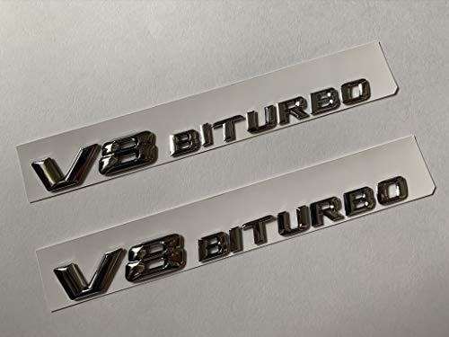 2 Auggies MB-V8BR Black Red V8 BITURBO Emblem Car Badges Decal Fender Side Emblem Plate Self Adhesive For Mercedes AMG