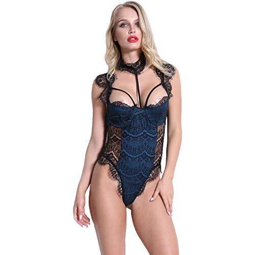 Gdofkh XL Ladies Eyelash Lace Pijamas Perspectiva Sexy Lencería Sexy de una Pieza Europa y América