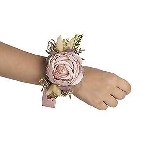 Silk Flower Arrangements Bridals By Ada Thalia Wrist Corsage, Handmade Artificial Flowers, Corsage Wristlet, Burgundy Flowers for Rustic Wedding Theme (Mauve/Blush Pink/Dusty Rose)
