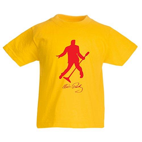 lepni.me Camiseta para Niño/Niña Me Encanta el King of Rock and Roll, 50s, 60s, 70s, Music Fan (3-4 Years Amarillo Rojo)