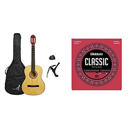 3Rd Avenue Rocket Xf Serie Guitarra Española Clásica, Color Natural, Tamaño Completo 4/4 + D'Addario Ej27N Juego De Cuerdas Para Guitarra Clásica De Nylon