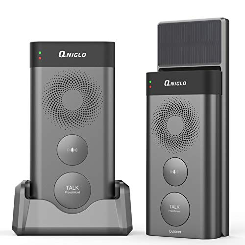 Wireless Intercom Doorbells Solar Powered, QNIGLO Waterproof Wireless Door Bell Chime, Operating at 2640 Feet Long Range with 2500mAh Removal Rechargeable Batteries, 20 Chimes and 3 Level Volume