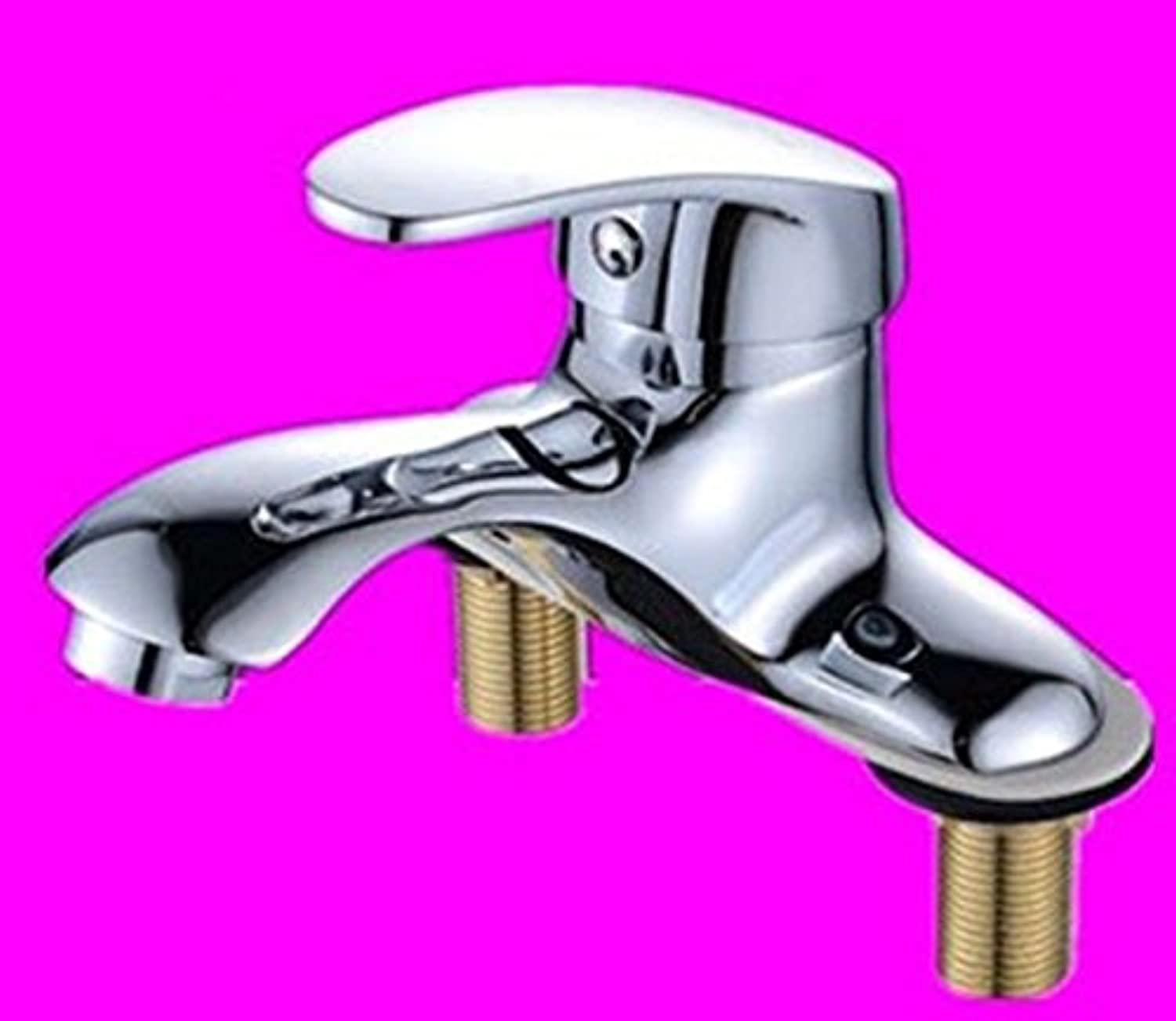 MulFaucet Faucet Water tap Taps Swivel Hoses Basin Copper Double Hole Three Holes hot and Cold Bathroom B