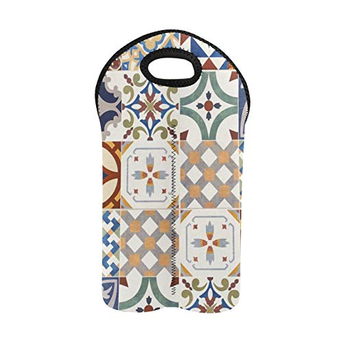 Wein tragende Tasche Blumen und marokkanische Fliesen Picknick Weinbeutel Doppelflaschenträger Weinträger und Beutel Dicker Neopren Weinflaschenhalter hält Flaschen geschützt
