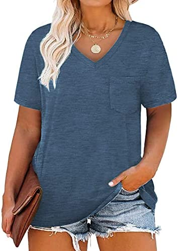 DOLNINE Plus-Size Tops for Women V Neck T Shirts...