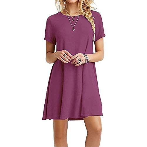 FOTBIMK Falda de mujer color sólido hasta la rodilla vestido de verano casual con cuello en V medio swing vestido