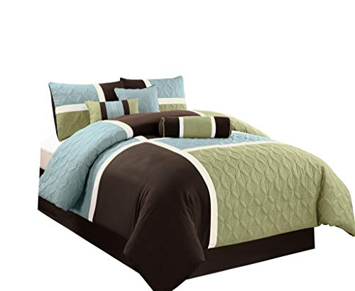 Chezmoi Collection 7-Piece Quilted Patchwork Comforter Set (Queen, Aqua Blue/Sage Green)