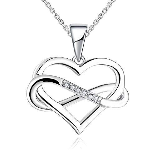 JO WISDOM Collares Colgante Plata de ley 925 Corazón Infinito Cristales Swarovski 3A Circonita Piedra natal de Abril Mujer Joyería
