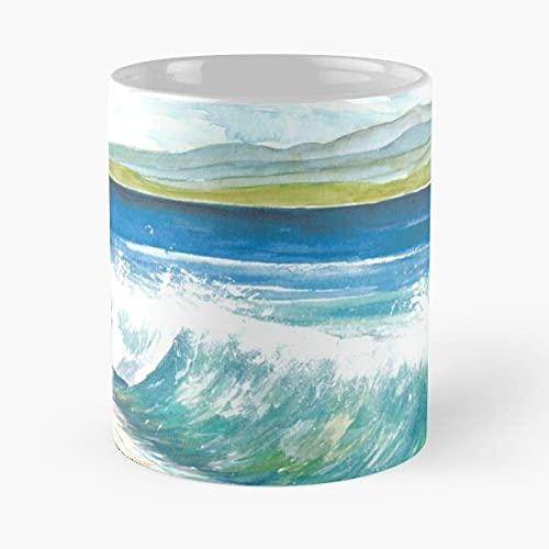 Beach Breaking Waves with Spray in the Bay – de beste koffiemok van wit marmerkeramiek met ca. 30 ml