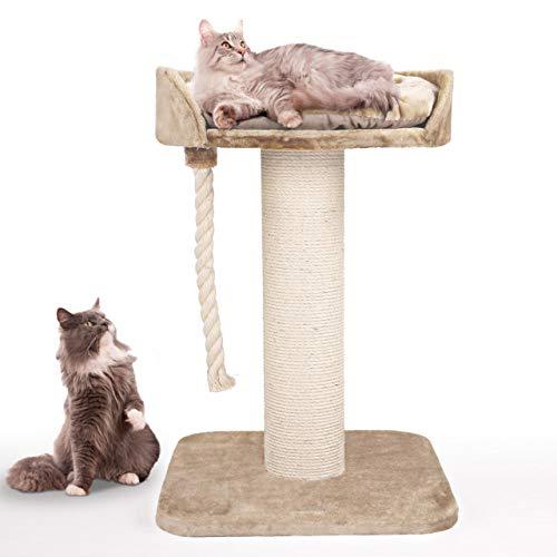 Happypet massiver Premium Kratzbaum, COMPACT Tower I, für große Katzen (Maine Coon), 8mm Sisal, 17 cm Säulen, 100 cm Hoch, Creme