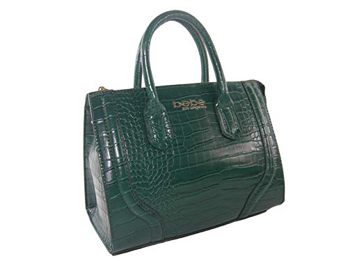 Bebe Handtasche mit Logo, Krokodilleder-Optik, Smaragdgrün