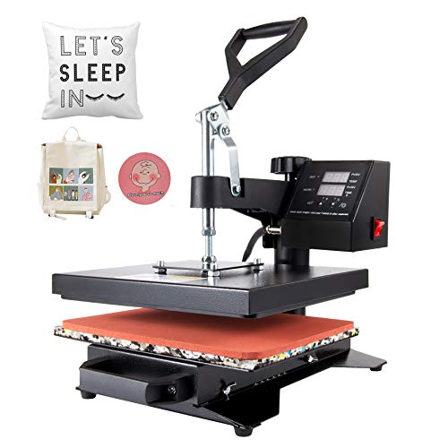 CO-Z Heat Press Machine Professional 360 Swing-Away T-Shirt Press for Shirt, Phone Case, Mouse Pad, Tote Bag, Pillow Case, Coasters, Puzzles, Tiles for Home and More (12x10 Inch)