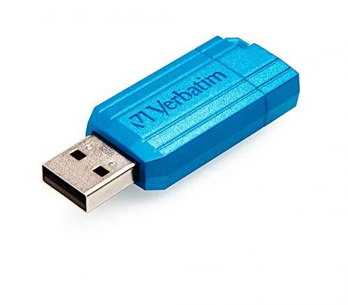 Verbatim PinStripe USB-Laufwerk - 32 GB mit praktischem Schiebemechanismus, Caribbean blue
