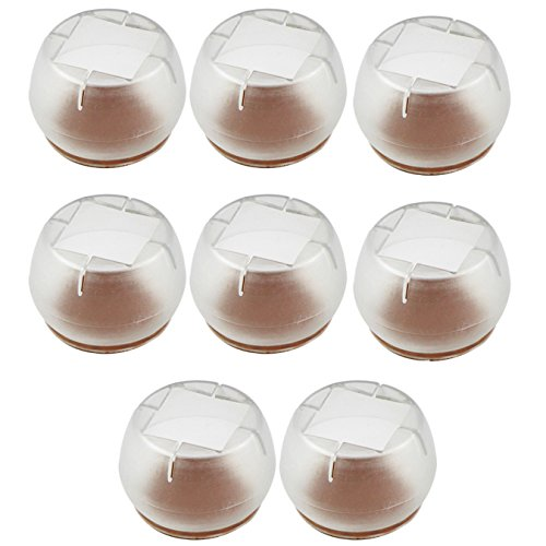 UOOOM Lot de 8pcs Antidérapante Silicone Transparente Protège-Jambes pour Jambes de Mobilier Chaise Table avec Fond Rond Ouverture Carrée (2125-5#)